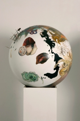 Flux, Oil paint, collage, card and cocktail sticks on polystyrene sphere, 50cm diameter